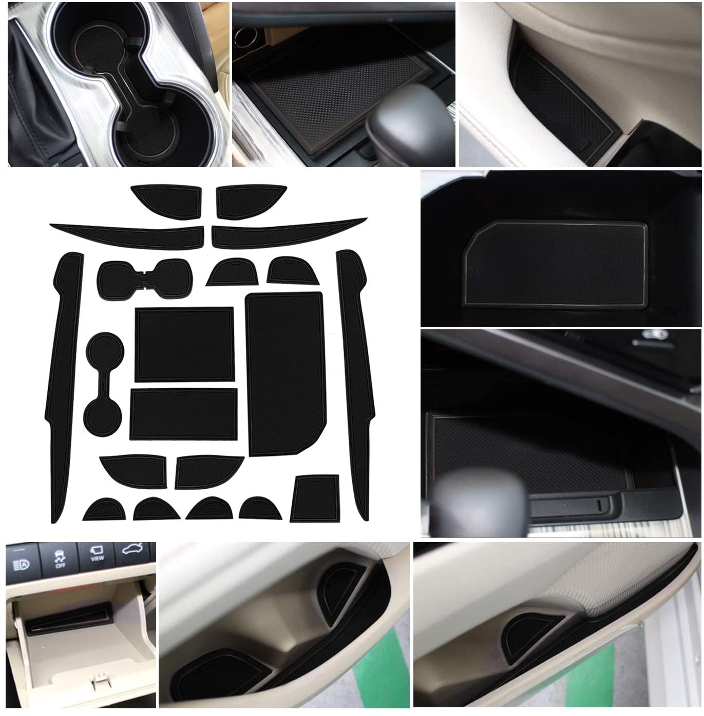 SHAOHAO Toyota Camry Accessories Console Liners Mats Compatible for Toyota Camry Console Groove Insert Liners for Toyota Camry 2018-2020