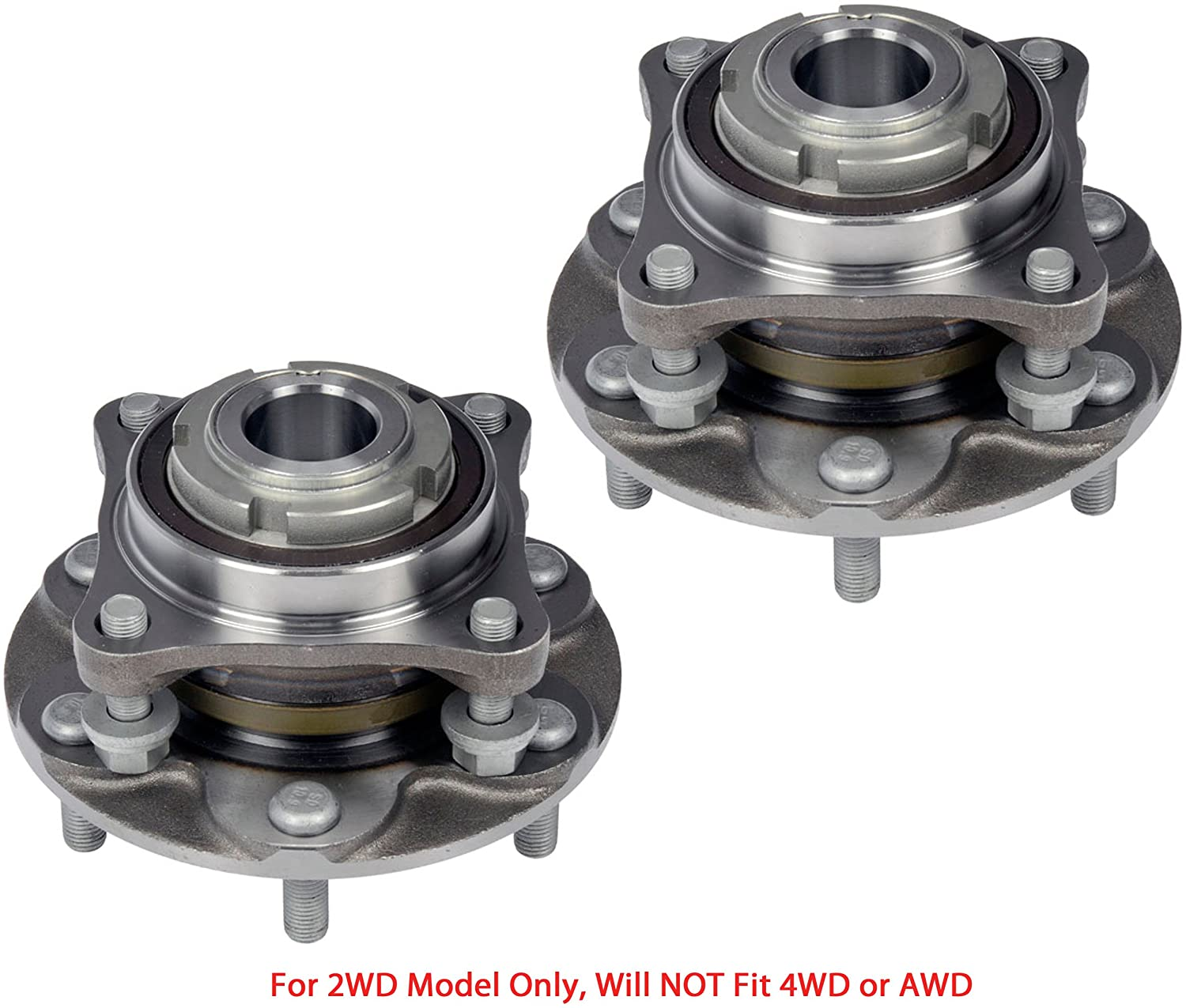 2 DTA Front Wheel Hub Bearing Full Assemblies NT5150402WG3 x2 Fits Front Left and Right Toyota 4Runner Tacoma FJ Cruiser Hilux 2WD Only, Will NOT Fit 4WD. Replaces Dorman # 950-004
