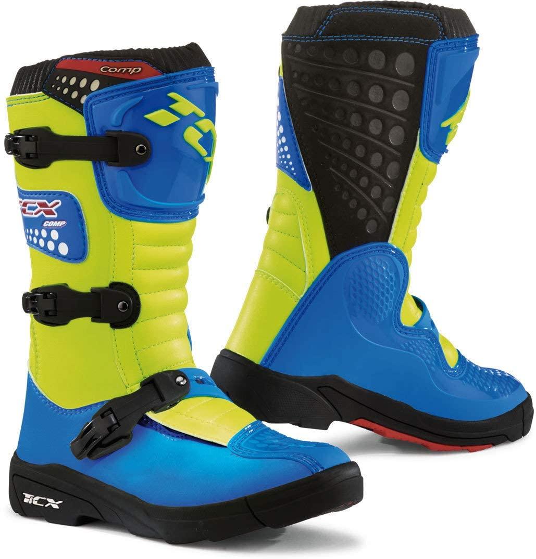 TCX Boots Unisex-Child Comp-Kid Boots Royal Blue/Yellow Fluo Size J33 /Size 1.5