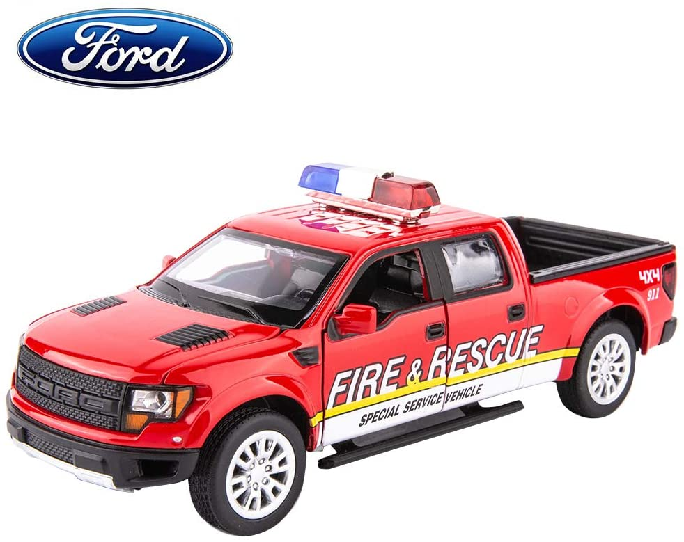 TGRCM-CZ 1/32 Scale F150 Pickup Truck Casting Car Models,Police Car with Sound and Light,Zinc Alloy Toy Car , Pull Back Vehicles Toy Car for Toddlers Kids Boys Girls