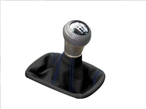 RedlineGoods bota/funda para palanca de cambios Compatible with Mitsubishi GTO/3000GT 1990-97. Cuero Negro Costura Azul