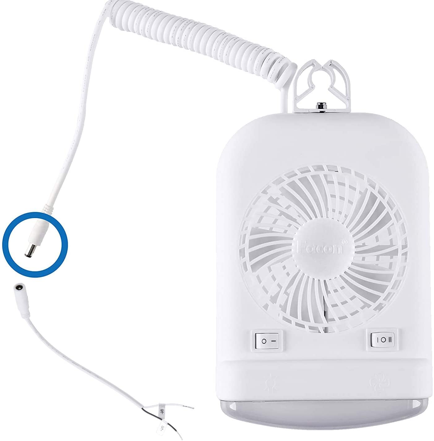 Facon 12 Volt RV Camper Fan and LED Light Combo, High Intensity Reading Light with Holding Bracket and On&Off Switch