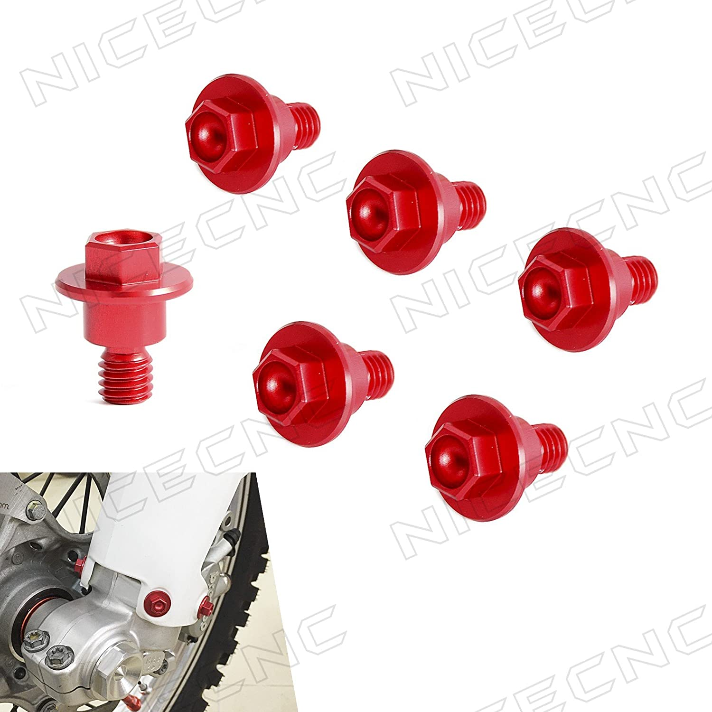 NICECNC 6PCS Red Fork Guard Bolt Set for CR125R/250R 85R/RII 97-07 CRF150R 2007-2017 250R/X 04-17 450R 02-17 450RX/250RALLY 2017 450X 05-16 250L/M 12-17 XR250/MOTARD 03-07 400MOTARD 05-08