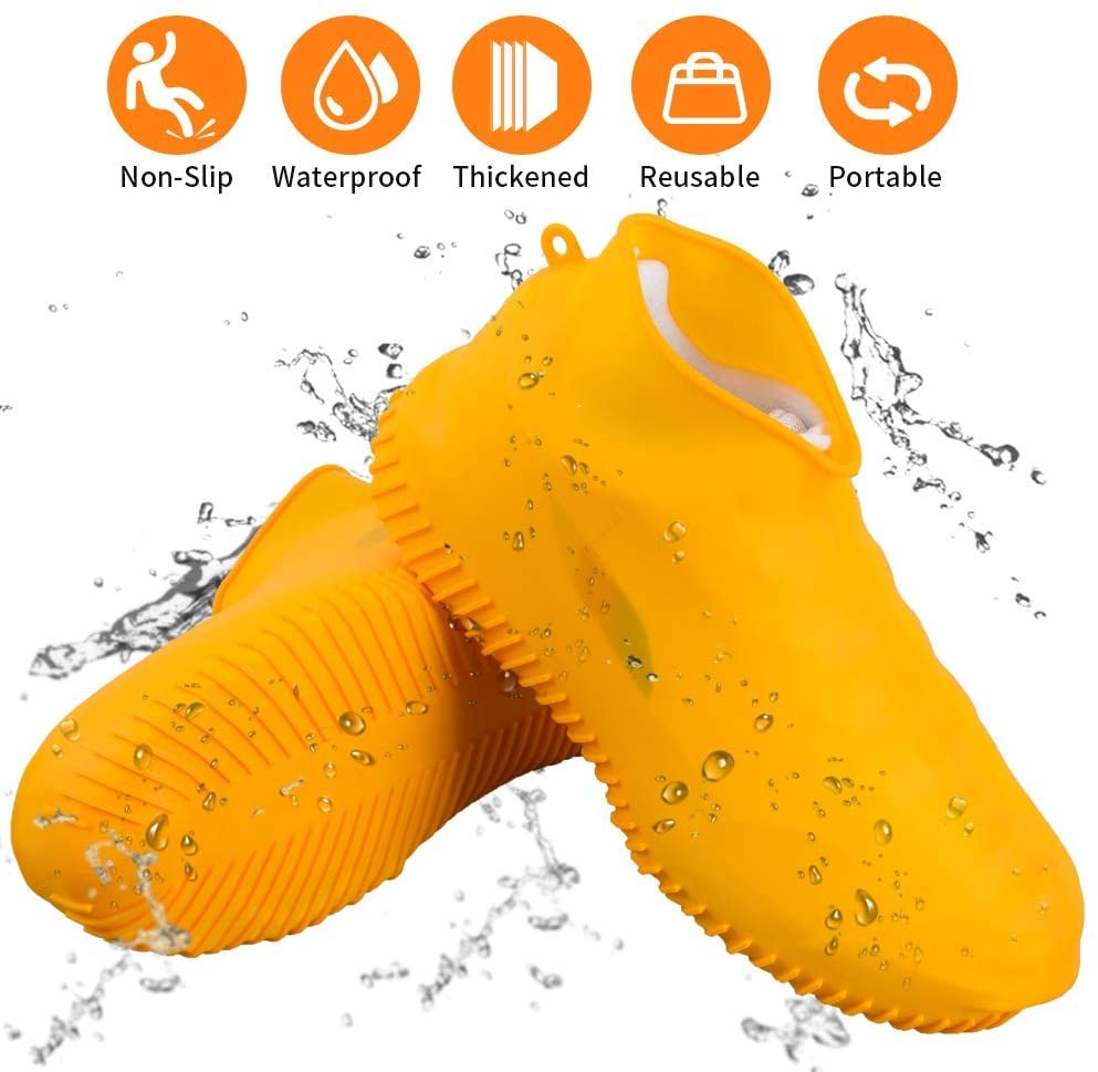 Waterproof Silicone Shoe Covers, Reusable Foldable Non-Slip Rain Shoe Covers, Cycling Outdoor Shoe Covers for Men and Women