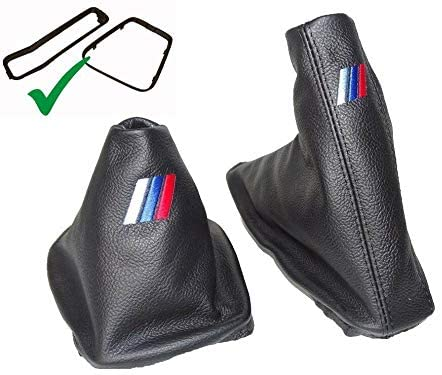 The Tuning Shop Shift & E-Brake Boot with Plastic Frames Leather M3 Embroidery