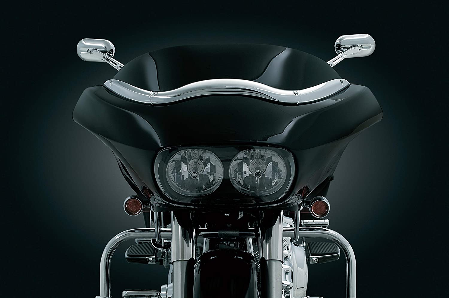 Kuryakyn 1370 Motorcycle Accent Accessory: Windshield Windscreen Trim for 1998-2013 Harley-Davidson Road Glide Motorcycles, Chrome