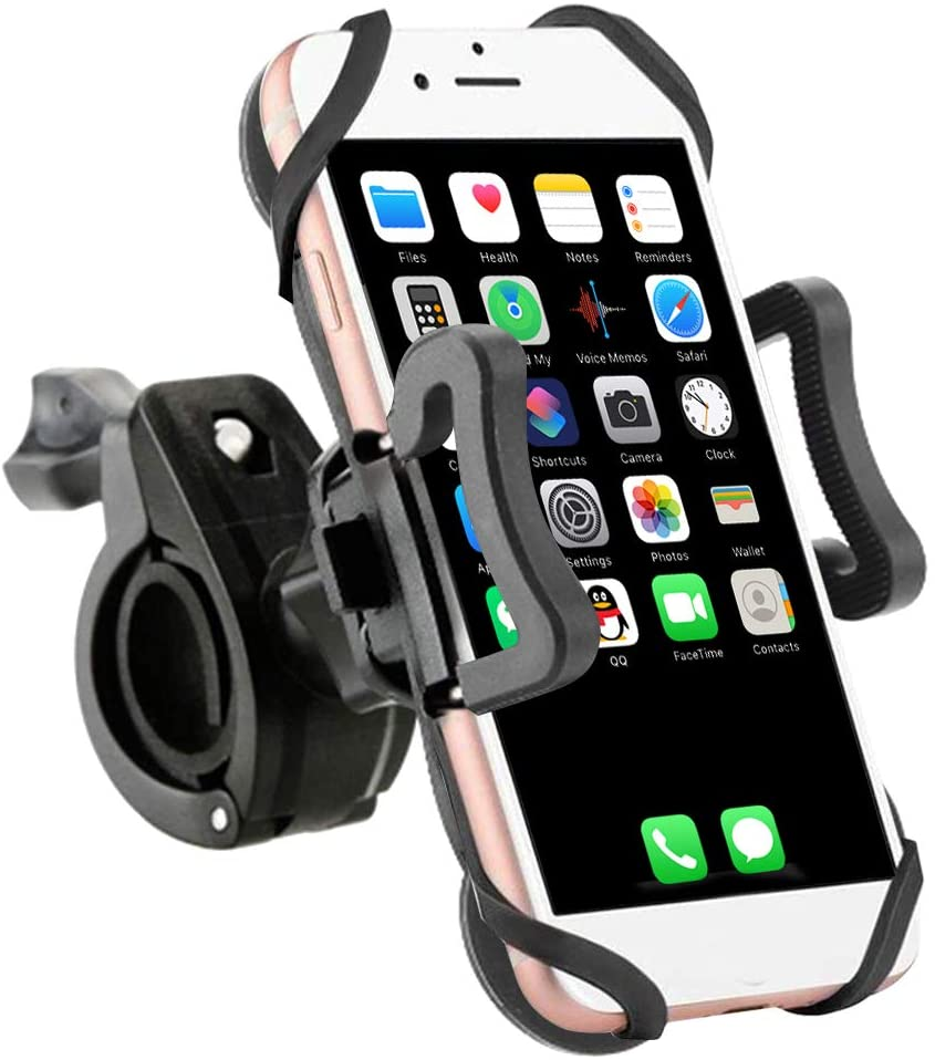 Bike Phone Mount, Motorcycle Phone Mount Bicycle Mobile Phone Stand, Bicycle, Motorcycle 360-degree rotatable, Rubber Strap, Universal Base Clip for iPhone Android Smartphones