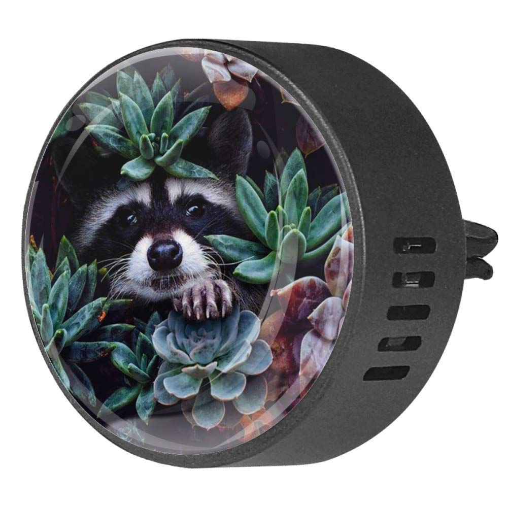 2PCS Raccoon Aromatherapy Diffuser Car Diffuser Vent Clip 40mm Stainless Steel Car Diffuser Locket Air Freshener