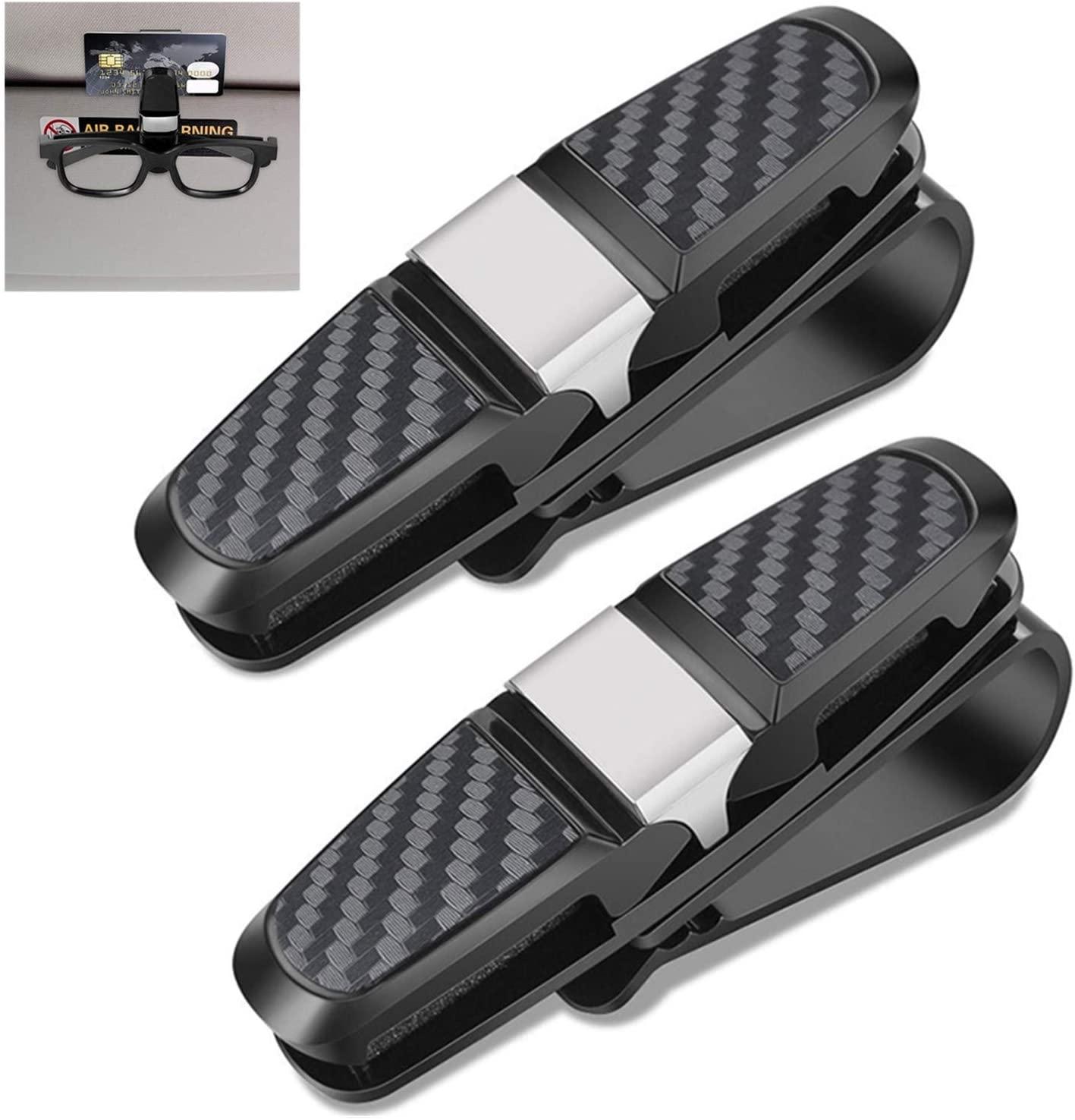 2 Packs Glasses Holders for Car Sun Visor, Sunglasses Holder Clip Hanger Eyeglasses Mount with Ticket Card Clip, Double-Ends Clip and 180 Degree Rotational Car Glasses Holder
