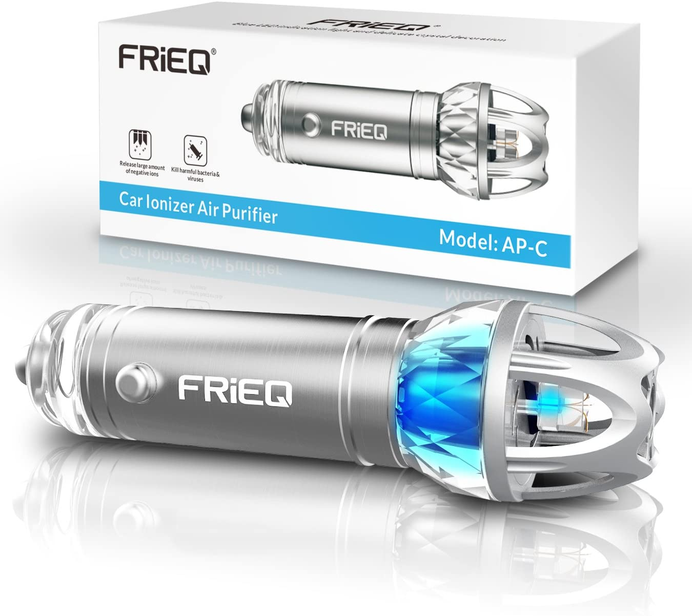 FRiEQ Car Air Purifier, Car Air Freshener and Ionic Air Purifier   Remove Dust, Pollen, Smoke and Bad Odors - Available for Your Auto or RV