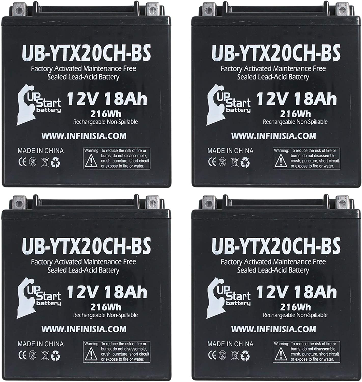 4-Pack UB-YTX20CH-BS Battery Replacement for 2010 Piaggio-Gilera Fuoco 500ie 500 CC Scooter - Factory Activated, Maintenance Free, Motorcycle Battery - 12V, 18AH, UpStart Battery Brand