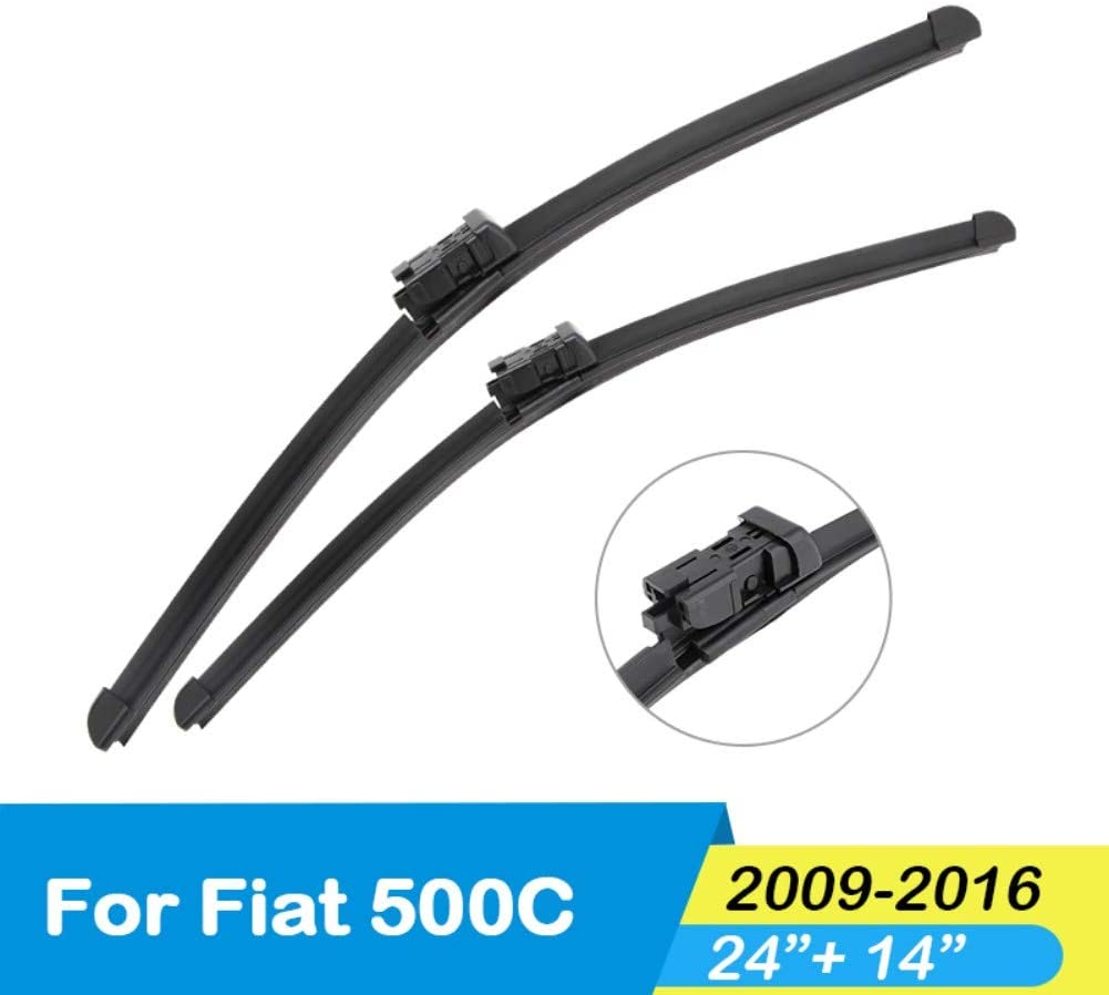 SDKLNW Car Windshield Wiper Blade Natural Rubber Fit Push Button Arm Accessories,for Fiat 500 500C 500L 500X from 2007 to 2017