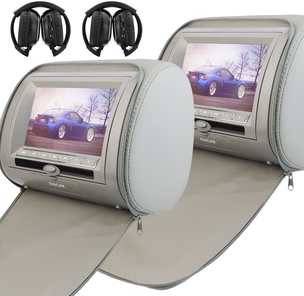 7 Inch Pair of Car Headrest Video Player Digital Screen Dual Twin Screen Car DVD Player Support USB/SD/FM Transmitter/AV output/32 Bit Game+Wireless Remote Control+2 IR Headphones