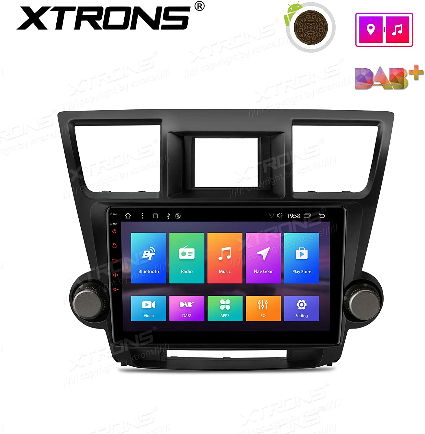 XTRONS 10.1 inch Touch Display Android 8.1 Car Stereo Radio GPS Navigator with USB SD Port Bluetooth 5.0 Supports WiFi 4G TPMS OBD for Toyota Highlander