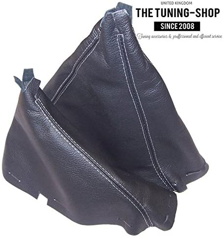 The Tuning-Shop Ltd for Ford Ranger 2006-11 Shift & Hi-Low Boot Black Genuine Leather White Stitching