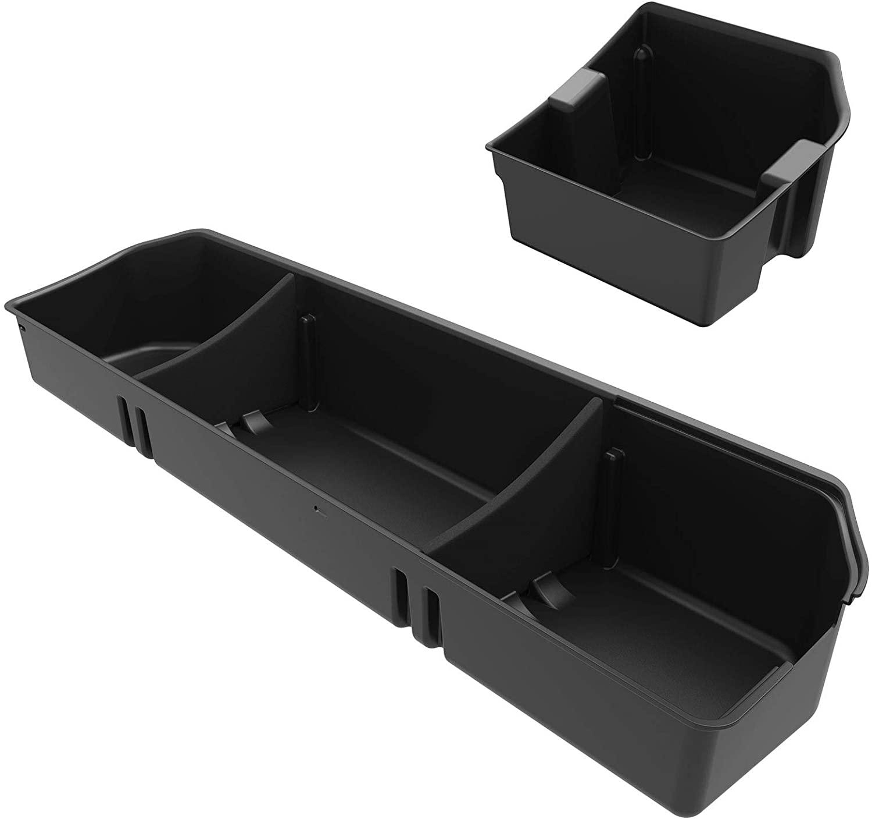 OEDRO Upgraded Under Seat Storage Box Compatible for 2015-2020 Ford F150 SuperCrew Cab & Crew Cab - Unique Textured Black 2-in-1 Design Max Storage (Excl. Super Cab)