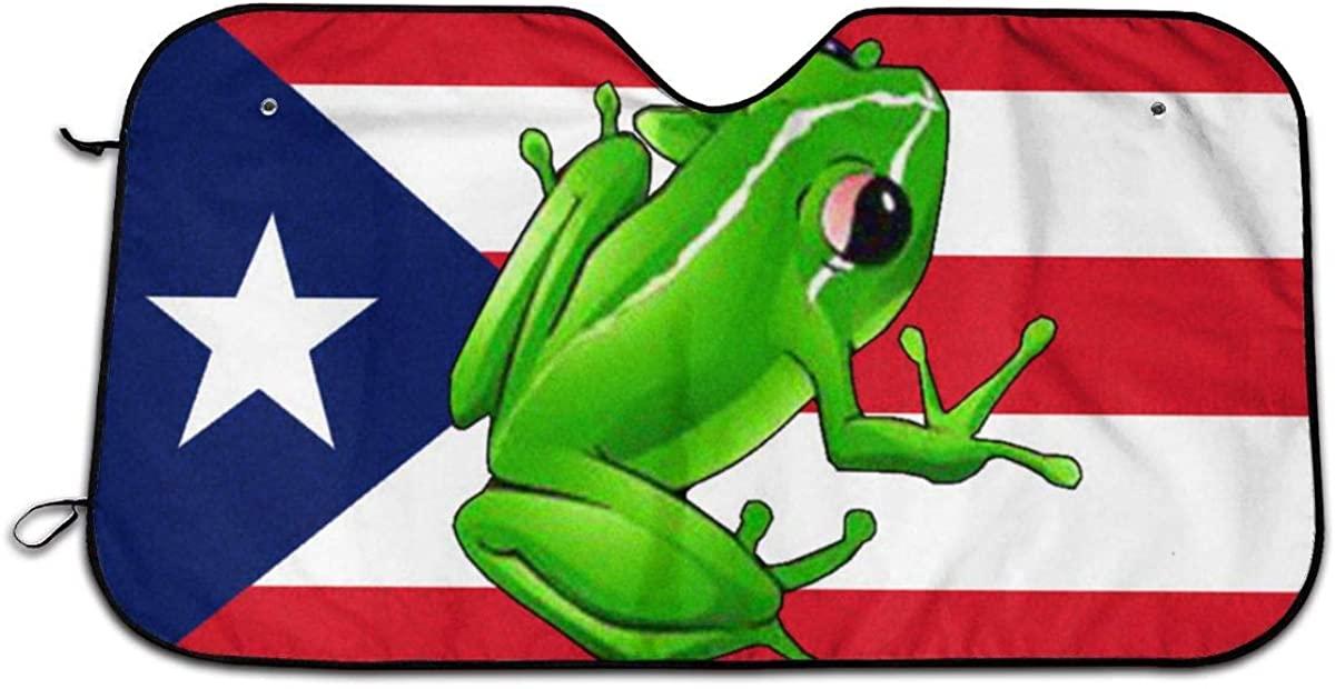 Car Windshield Sun Shade Puerto Rico Frog Flag Trucks Automotive Sun Blocker Visor Protector, Keeps Your Car Cool