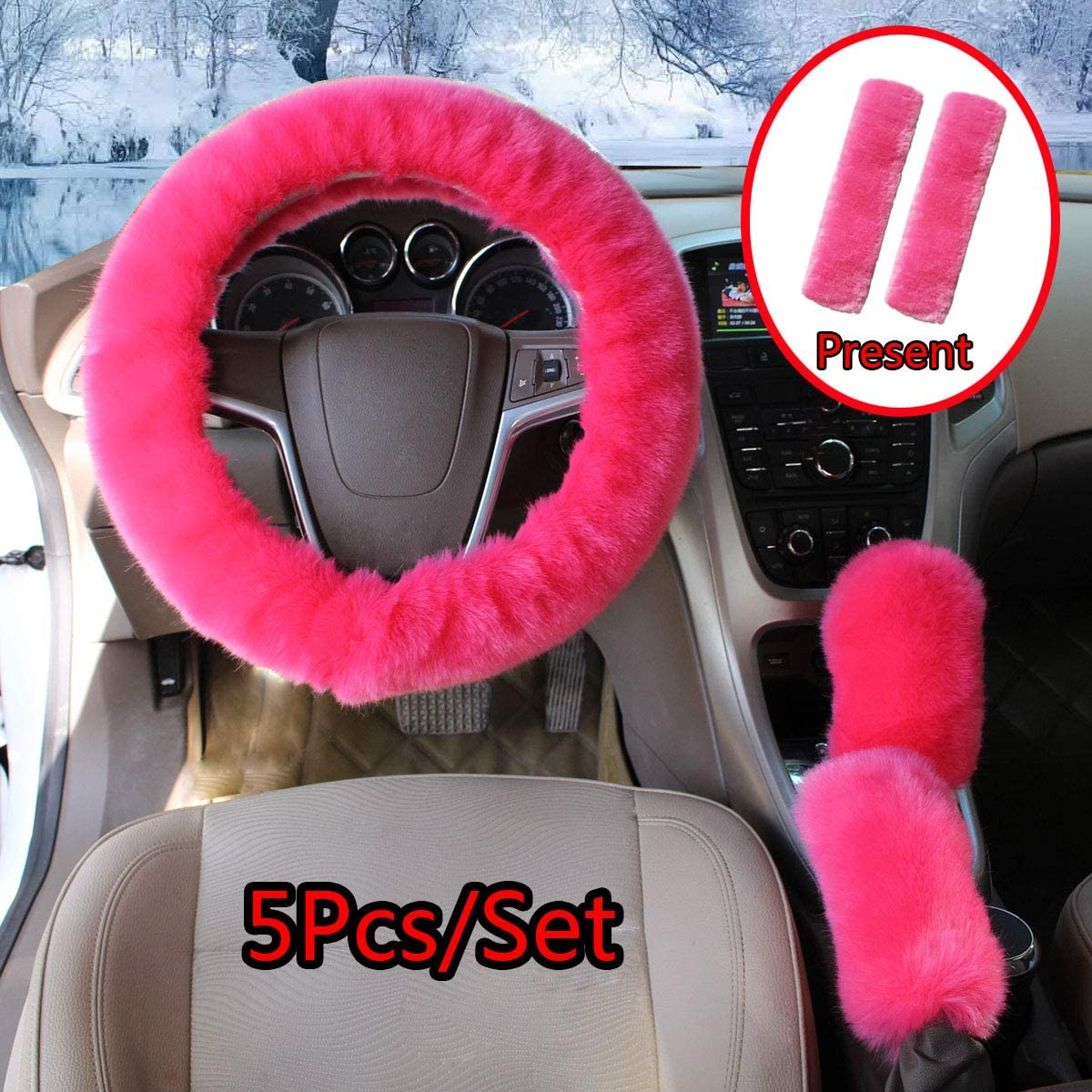 Cxtiy Fluffy Steering Wheel Cover 5 Pcs 1 Set with Handbrake Cover & Gear Shift Cover & Seat Belt Pads Soft and Warm for Car Steering Wheel Protector 15 inch (Hot pink-5pcs)