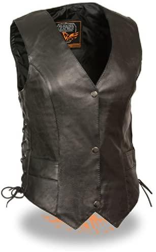 Milwaukee Leather ML1254 Ladies Classic Black Side Lace Leather Vest - X-Large