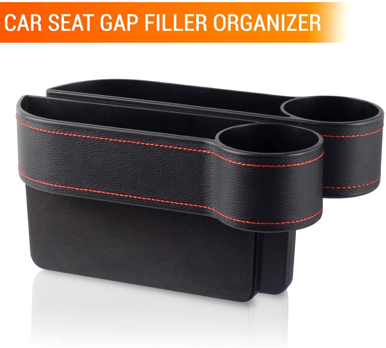 Car Front Seat Gap Filler, Multifunctional Car Seat Organizer, PU Leather Car Seat Pocket Organizer Catcher for Coin, Keys, Laptop Cellphone, Cup Holder, Various Cards (2 x Car Seat Gap Organizer)