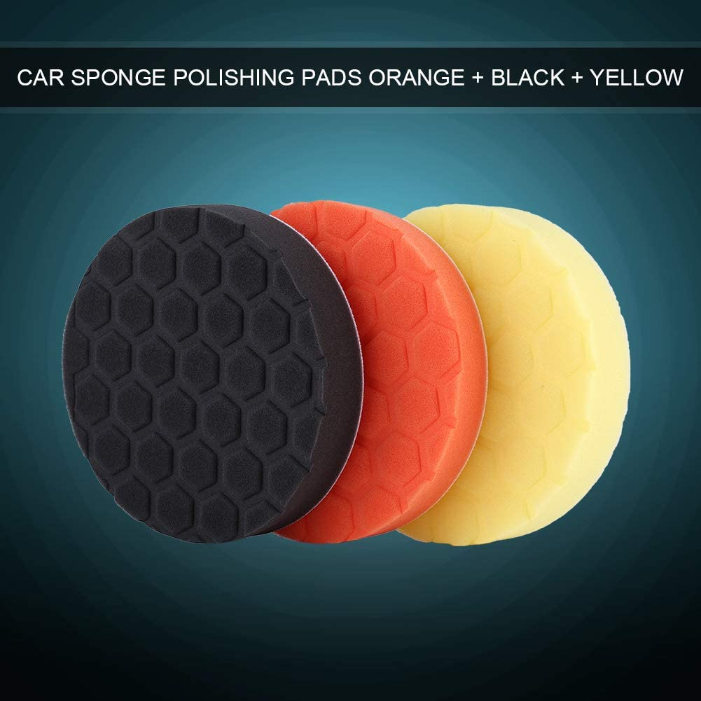 Sponge Polishing Pads, 3 pcs Sponge Polishing Buffing Waxing Pad Kit for Car Buffer Polisher Sanding,Polishing,Waxing Orange Black Yellow(6inch)