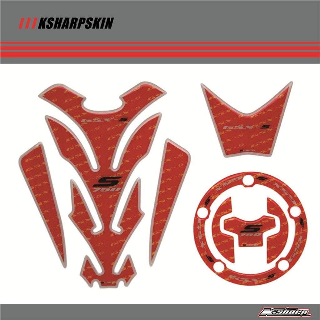 Motorcycle 3D Sticker Decal Emblem Protection Tank Pad Cas Cap Fit for Suzuki GSXS750 (Red)