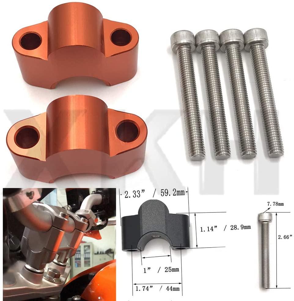 SMT- Riser higher handlebar riser 25mm Adaptor Compatible With KTM Duke 200 250 390 2013-2016 Orange [B07MQT9HF4]