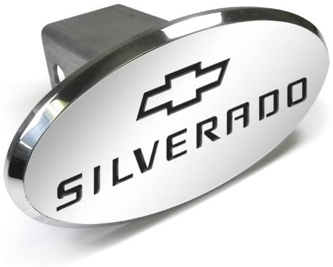 CarBeyondStore Chevrolet Silverado Engraved Oval Aluminum Tow Hitch Cover