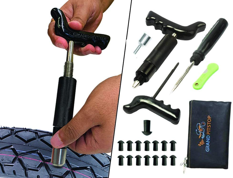 GRAND PITSTOP Tubeless Tire Puncture Repair Kit for Motorcycle and Cars with 15 Mushroom Plugs