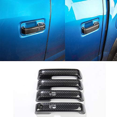 for Ford F150 2017-2019 with Sensor Carbon Fiber Exterior Side Door Handle Cover Trim