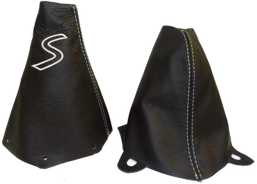 The Tuning-Shop Ltd For Mini Cooper R50 R53 S-One 2001-2006 Shift & E Brake Boot Black Leather White S Embroidery Edition