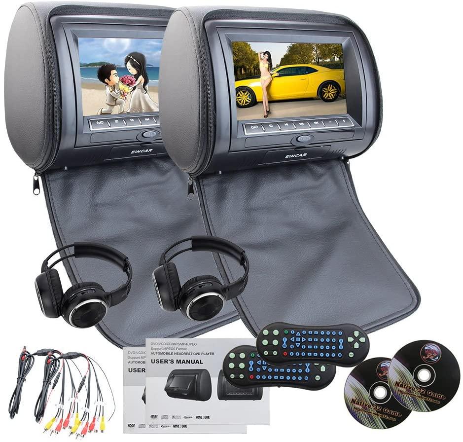 EinCar Black 2 PCS Car Headrest Dual DVD Player 7 HD Display Screen with Built in IR FM Transmitter 32 Bit Games USB SD MP3 for Entertainment IR Free Headphones x 2