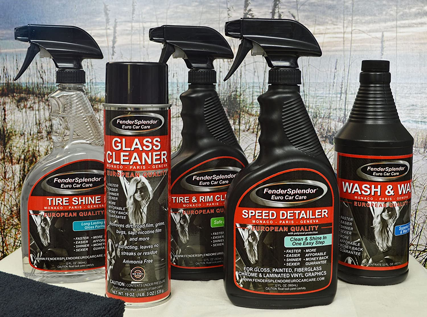 FenderSplendor Euro Car Care Platinum Package - Includes 1 32 oz. Tire Shine, 1 32 oz. Speed Detailer, 1 32 oz. Tire and Rim Cleaner, 1 32 oz. Wash & Wax, 1 19 oz Glass Cleaner and 4 - Microfiber Towels