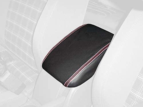 RedlineGoods cubierta de apoyabrazos Compatible with Volkswagen Golf MK V 2003-09. Alcantara Negra Costura Azul