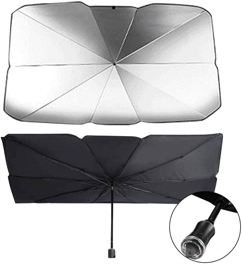 VAHIGCY Car Windshield Sun Shade Umbrella, Foldable Car Sun Umbrella Block UV for Windshield Sun Protection, with Emergency Safety Hammer Head, 65cm x 125cm