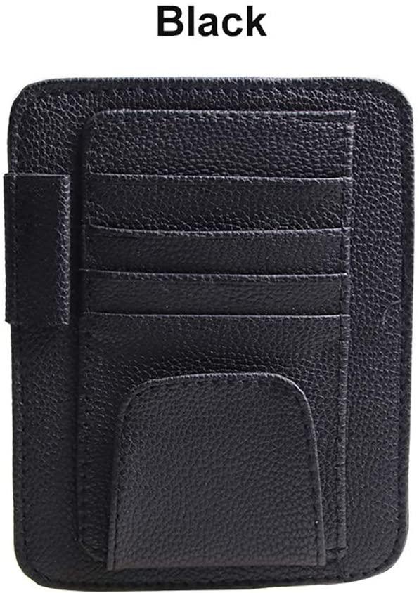 QHCP Car Sun Visor Sunshade Glasses Holder Sleeve Wallet PU Leather Storage Case with Cards Organizer Clips Holder (Black)