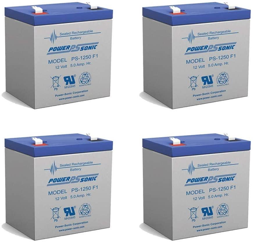 12V 5AH Sealed Lead Acid (SLA) Battery for NP4-12 NP5-12 NPH5-12 NPX-25 - 4 Pack
