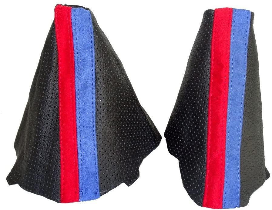 For BMW E90 E91 E92 E93 2005-2013 Shift & E brake Boot Black Genuine Leather Alpina Style Stripes