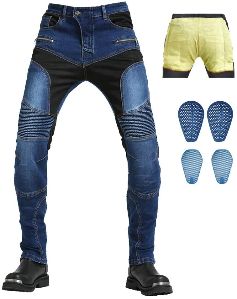 Takuey Motorcycle Riding Pants Reinforce with Aramid Protection Summer Biker Jeans Silica Gel Pads (M(30)=Waist 33.5