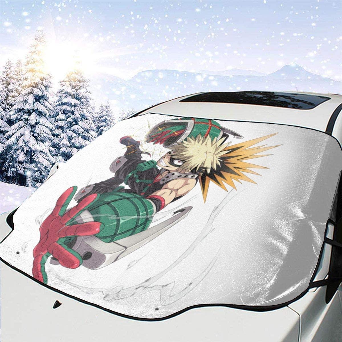 Car Windshield Snow Cover Japanese Anime My Hero Academia Bakugou Katsuki Large Waterproof Ice Removal Sun Shade Front Windshield Shade Glare Best Uv Ray Sun Visor Protector for Winter,Truck,Rvs