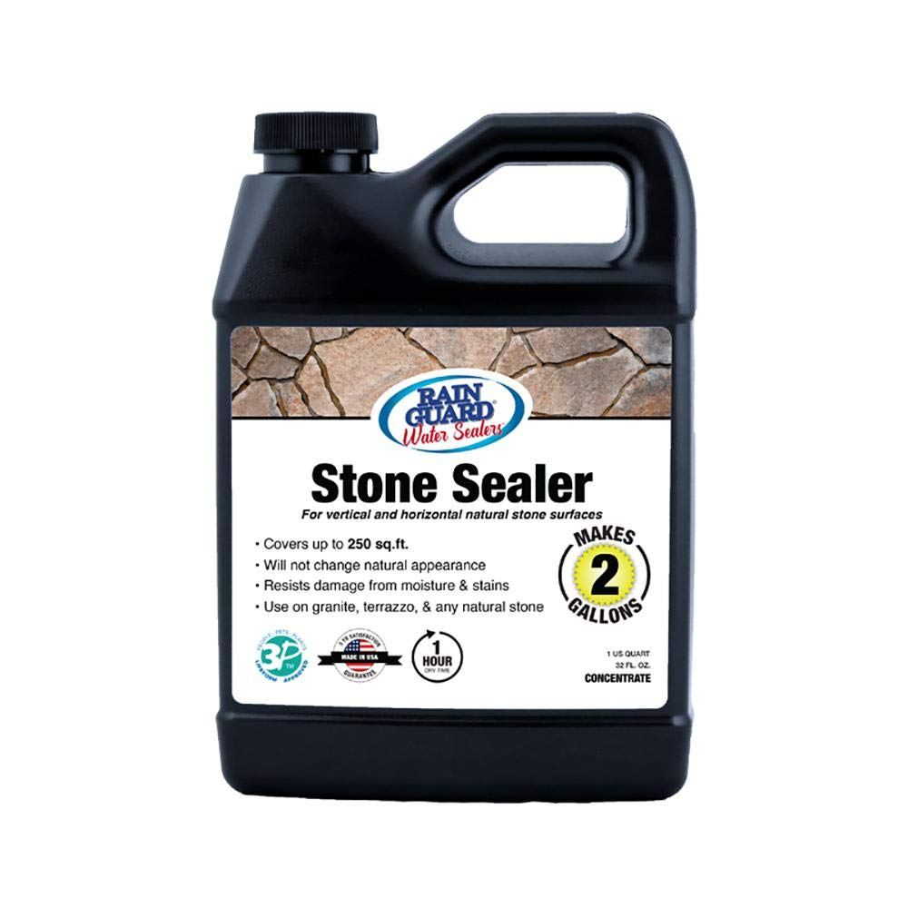 Rain Guard Water Sealers SP-6002 Stone Sealer Concentrate - Water Repellent for Interior or Exterior Porous Stone - Covers up to 250 Sq. Ft, 32 oz Makes 2 Gallons, Invisible Clear