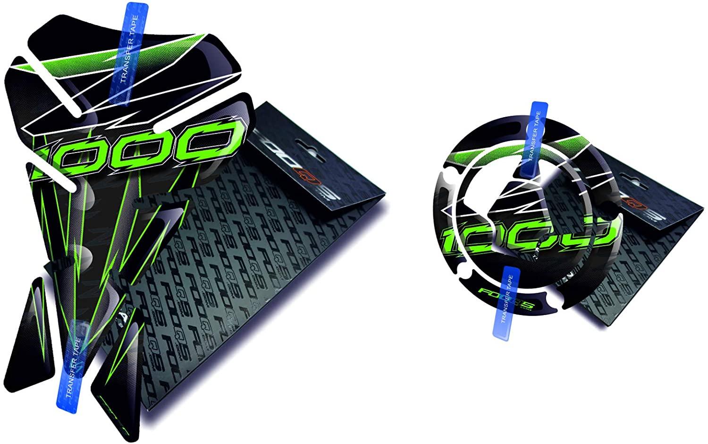 Fooqs Tankpad and Cappad V1 for Kawasaki Z1000 Z 1000 (Black/Green)