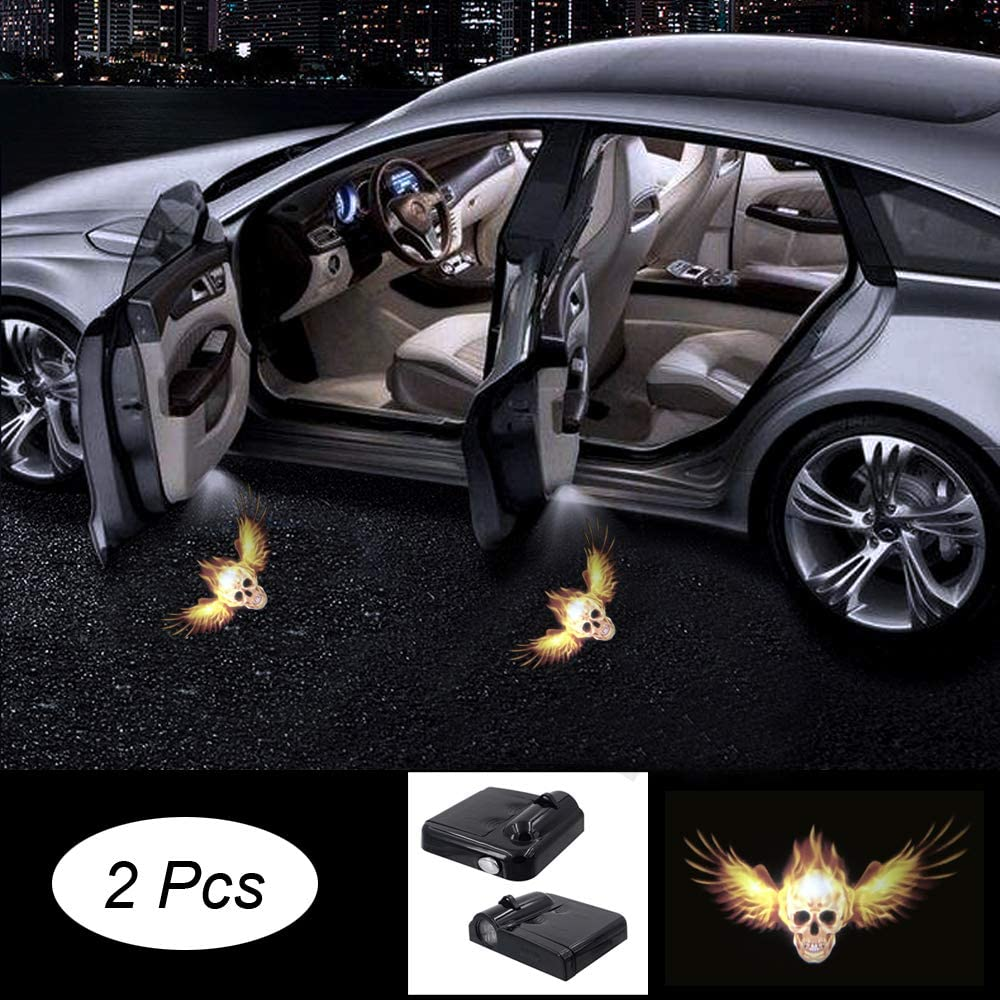 Premium Wireless Car Door Light 2 Pcs Easy Installed Welcome Laser Projector Pastable Led Logo Light Holeless Magnet Sensor Ghost Shadow Lamp Logos Replacement for All Car Accessory (feikulo380)