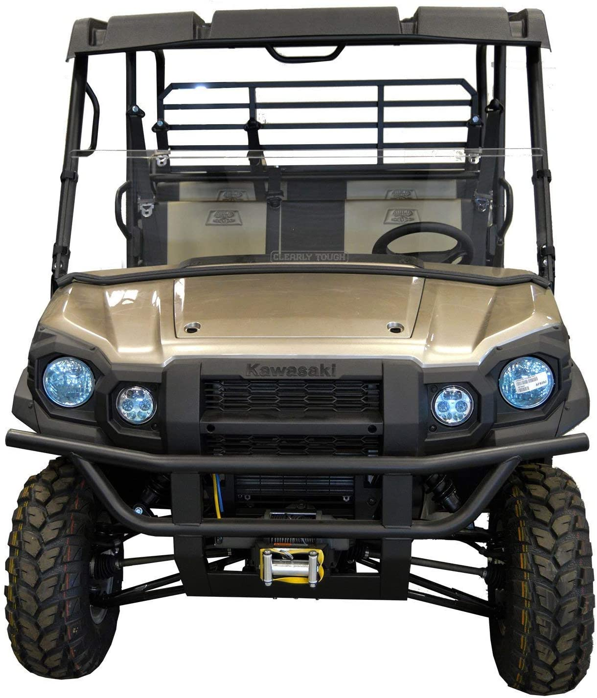Kawasaki Mule Pro Series Windshield - Half -SCRATCH RESISTANT- The ultimate versatility for your SXS! On or off in seconds. Premium poly w/Hard Coat. Made in America!