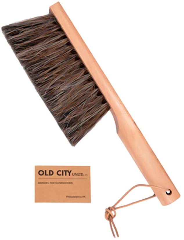 Dustpan,Bench Woodworking Brush-Brushes are used for Counter, Gardening, Furniture, Drafting, Patio, Fireplace Cleaning, Large 13 Inches Shop Brush,USA, Horsehair and Catalpa Wood, Leather Tie