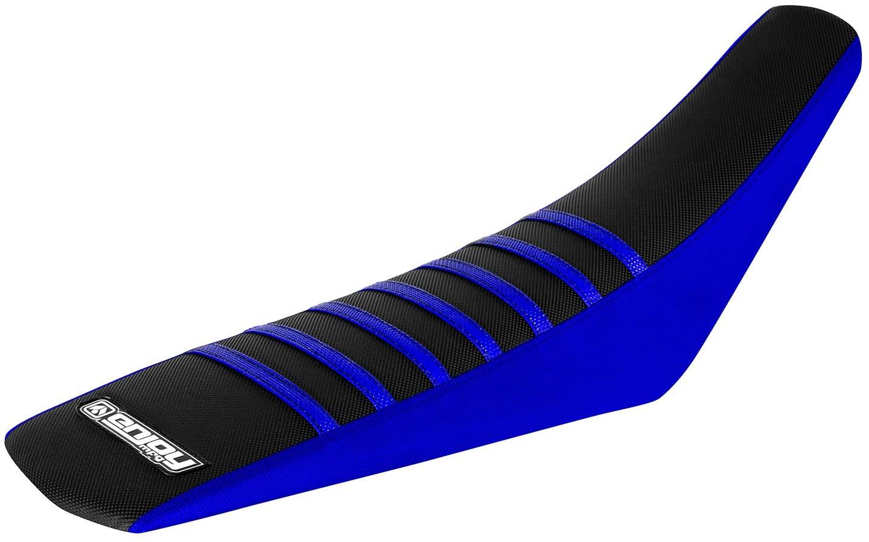 Enjoy MFG Ribbed Seat Cover for Yamaha TTR 230 - Blue Sides / Black Top / Blue Ribs
