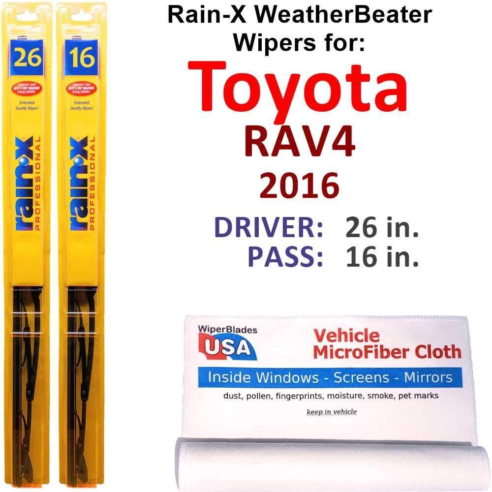 Rain-X WeatherBeater Wiper Blades for 2016 Toyota RAV4 Set Rain-X WeatherBeater Conventional Blades Wipers Set Bundled with MicroFiber Interior Car Cloth