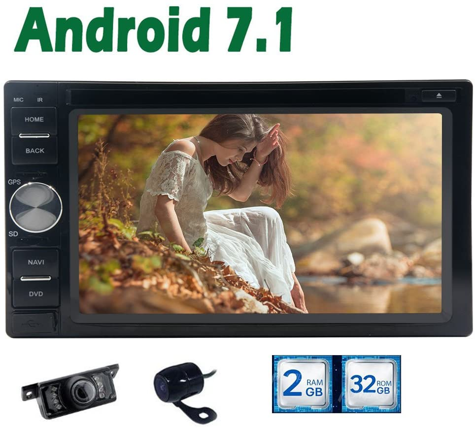 Latest 2GB RAM Double 2 din 6.2 INCH Android 7.1 Car Radio Stereo System with HD Multi-Touch Screen Autoradio Bluetooth Head Unit in Dash Car DVD Player GPS Navigation + Free Dual Cameras