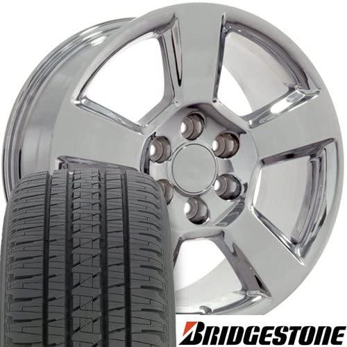 OE Wheels LLC 20 Inch Fits Chevy Silverado Tahoe GMC Sierra Yukon Cadillac Escalade CV76 Chrome 20x9 Rims Hollander 5652 Bridgestone Dueler Alenza HL Tires SET