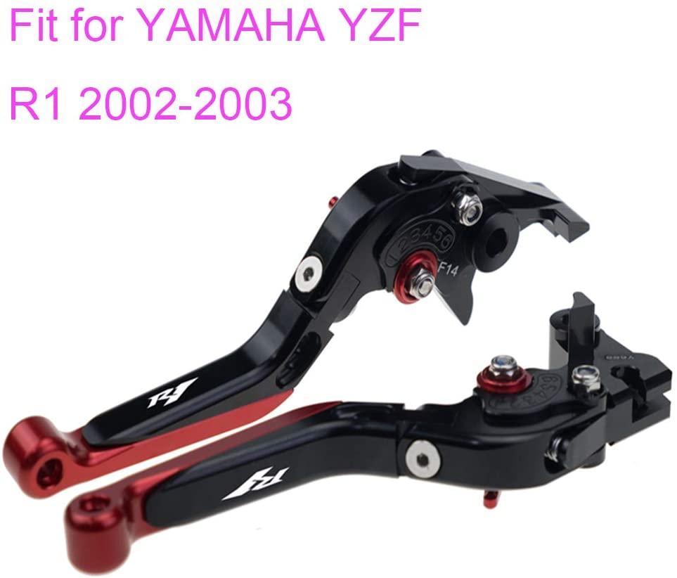 PRO-KODASKIN Folding Extendable Brake Clutch Levers for YAMAHA YZF R1 2002-2003 (Red)